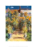 El jardín del artista en Vetheuil Póster por Claude Monet