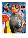 Les Echelles en Roue De Feu Traversent L Azur Póster por Joan Miró