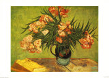 Vase with Oleanders and Books, c.1888 ポスター : フィンセント・ファン・ゴッホ