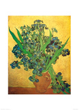 Vase of Irises Against a Yellow Background, c.1890 Plakat av Vincent van Gogh