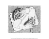 Drawing Hands Print by M. C. Escher