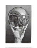 Hands with Sphere Plakat av M. C. Escher