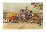 Les roulottes, campement de bohémiens aux environs d'Arles Posters par Vincent van Gogh