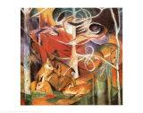 Cerf dans la forêt I Affiches par Franz Marc