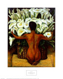 Akt med kallor|Nude with Calla Lilies Affischer av Rivera, Diego