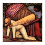 The Flower Carrier Print by Diego Rivera