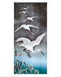 White Birds in Snow Prints by Ohara Shoson