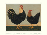 Double Roosters Prints by Warren Kimble