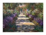 Trädgård i Giverny|Garden At Giverny Poster av Claude Monet