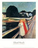 Four Girls on a Bridge Print by Edvard Munch