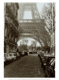 Street View of La Tour Eiffel Print by Clay Davidson