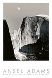Mond und Half Dome Poster von Ansel Adams