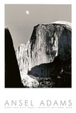 Moon and Half Dome Print by Ansel Adams