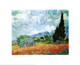 Yellow Wheat and Cypresses Print by Vincent van Gogh