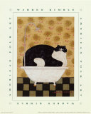 Cat in Hot Tin Tub Affiches par Warren Kimble