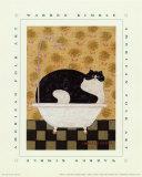 温かいブリキのバスタブに入る猫 高品質プリント : ウォーレン・キンブル