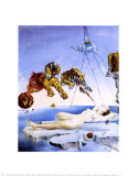 Traum, verursacht durch den Flug einer Biene um einen Granatapfel, eine Sekunde vor dem Aufwachen, ca. 1944 Kunstdrucke von Salvador Dalí