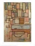 Compostion avec zones colorées Posters par Piet Mondrian