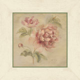 Coral Rose on Antique Linen Print van Cheri Blum