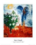 Couple au Dessus de St Paul Posters van Marc Chagall