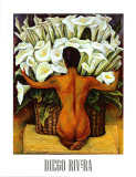 Desnudo con alcatraces Psters por Diego Rivera