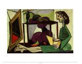 Innenansicht mit malendem Mädchen Poster von Pablo Picasso