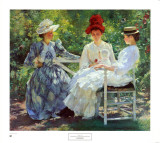 Three Sisters, a Study in June Sunlight Poster by Edmund Charles Tarbell