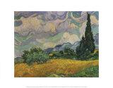 Champ de blé avec cyprès, vers 1889 Affiches par Vincent van Gogh