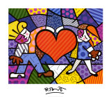 Heart Kids Print by Romero Britto