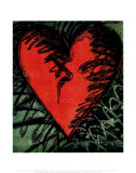 Rancho Woodcut Heart Poster van Jim Dine