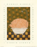 Cochon dans son bain Posters par Warren Kimble