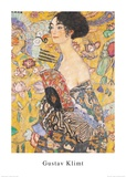 Mujer con abanico Posters por Gustav Klimt
