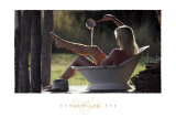 Cowgirl in Tub Art by David R. Stoecklein
