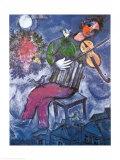 El violinista azul Lámina por Marc Chagall