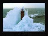 Leuchtturm im Sturm, Kereon Poster von Jean Guichard