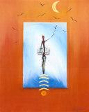 Biking in the Moonlight Poster von Alfred Gockel