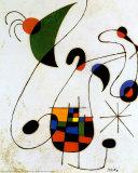 De melancholische zinger Poster van Joan Miró