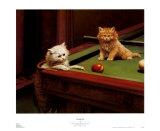 Katzen beim Billard Poster von George Hughes