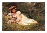 Mädchen mit ihrem Liebling Kunstdrucke von  Dampler
