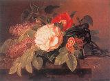 Peonies, Lilacs and Primulae Kunst von Johan Laurentz Jensen