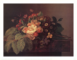 Wild Roses Aricula Pansies Art by Johan Laurentz Jensen