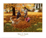 Raking Leaves Posters by Mary G. Smith
