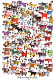 One Hundred Dogs and a Cat Art Print by Kevin Whitlark