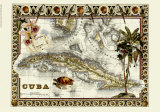 Tropical Map of Cuba Giclée-tryk