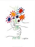 Mano con flores Láminas por Pablo Picasso