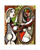 Flickan framför spegeln, ca 1932 Planscher av Pablo Picasso