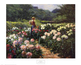 Frau in einem Garten mit Pfingstrosen Kunstdrucke von Abbott Fuller Graves