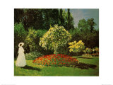 Signora in Giardino Posters by Claude Monet