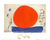De rode zon Print van Joan Miró