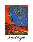 Couple d'amoureux sur fond rouge Posters par Marc Chagall